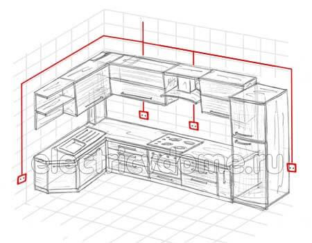 разводка электропроводки на кухне
