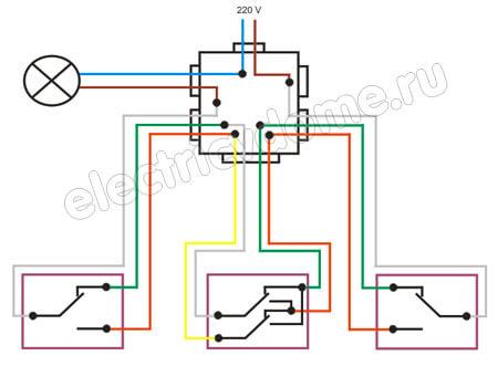 схема из двух проходных и перекидного выключателей