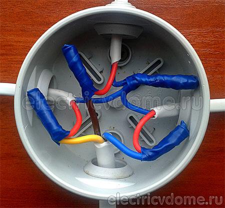 укладка проводов двойного выключателя